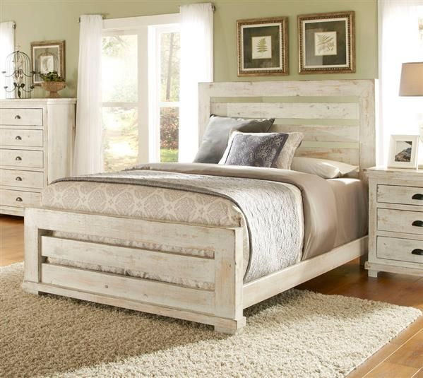 Willow Casual Distressed White Wood King Slat Bed White Bedroom Set Bedroom Furniture Sets Progressive Furniture