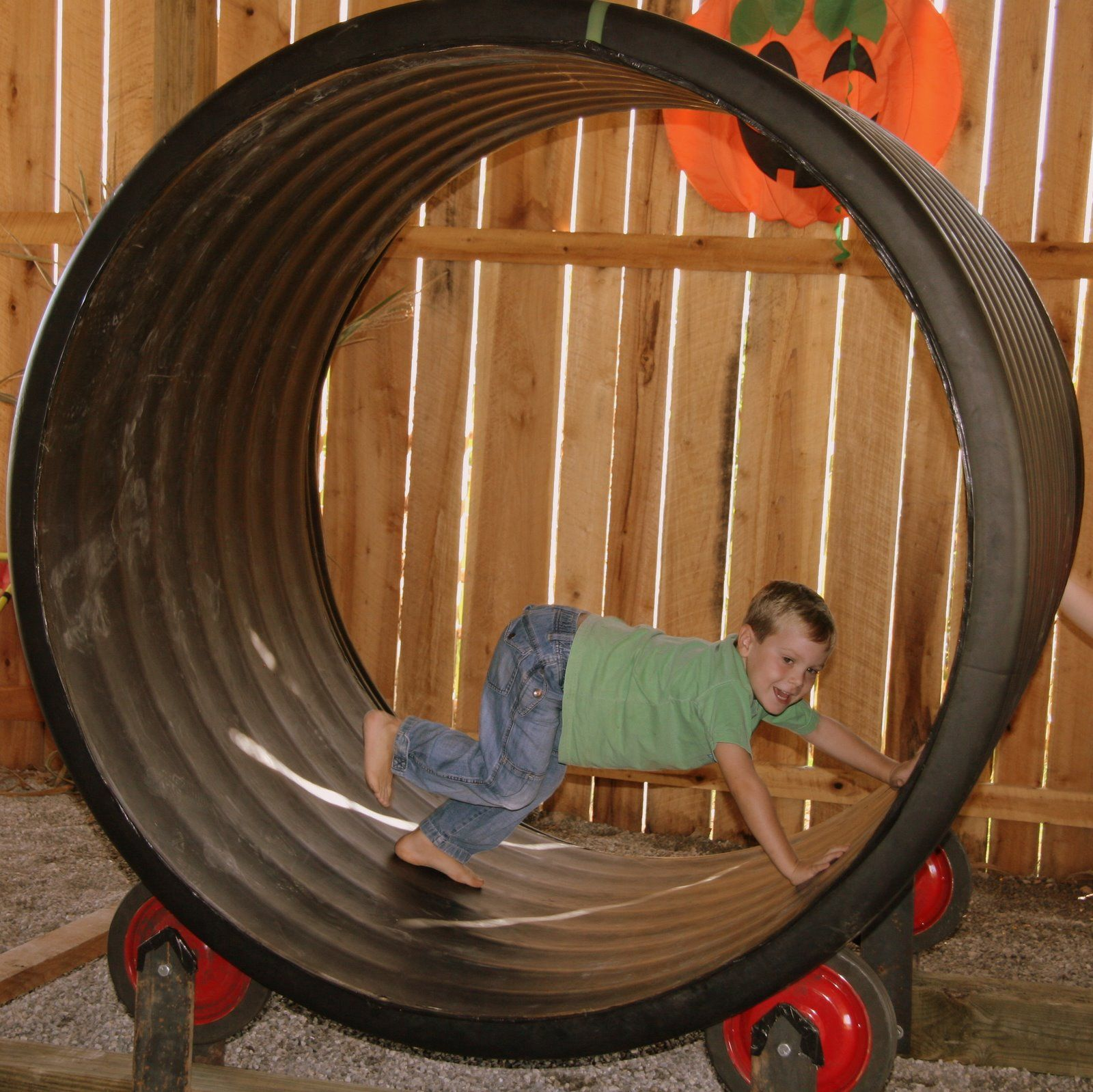 When I See This Kid Sized Hamster Wheel I Think You Could Recreate This This Was Done Basically With Fa Backyard Playground Play Houses Outdoor Playground