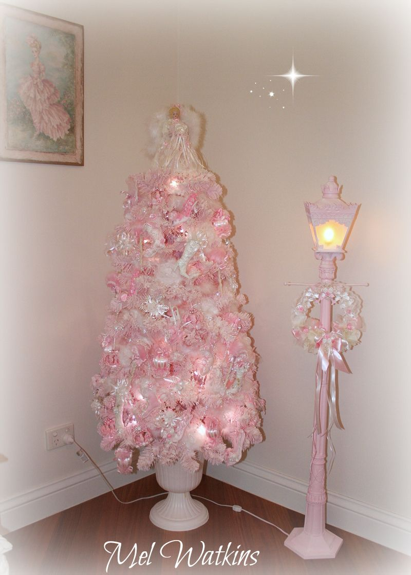 CHRISTMAS TREE~ Shabby Chic Pale Pink Christmas Tree And Pink Light Up Lamp  Post