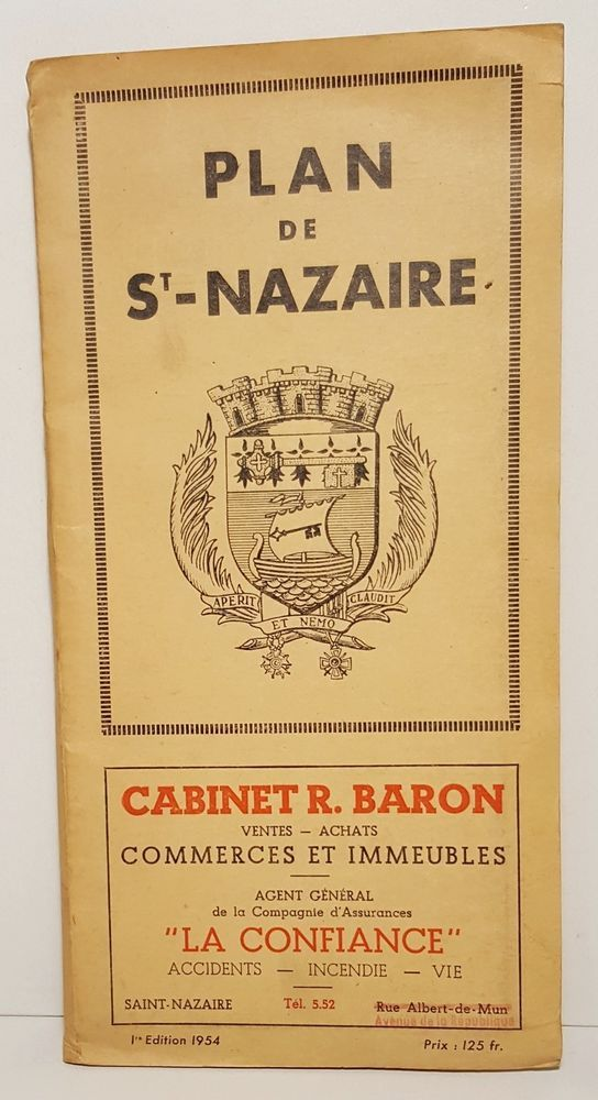 1954 Large Tourist Map Street Guide Ads SAINTNAZAIRE Brittany
