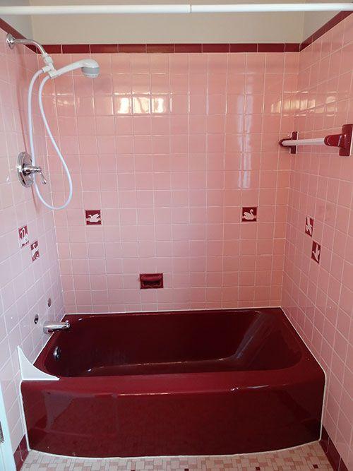 A Color Scheme For A Pink Maroon And White Bathroom Burgundy Bathroom Vintage Bathrooms Retro Bathrooms
