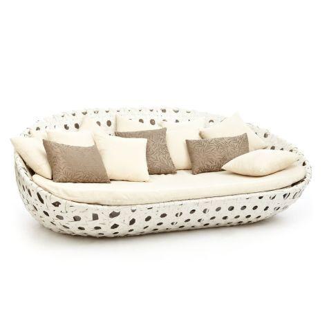 Outdoor Sofa, Inkl.Kissen, Aluminiumgestell, Kunststoffgeflecht, Polyester  Vorderansicht