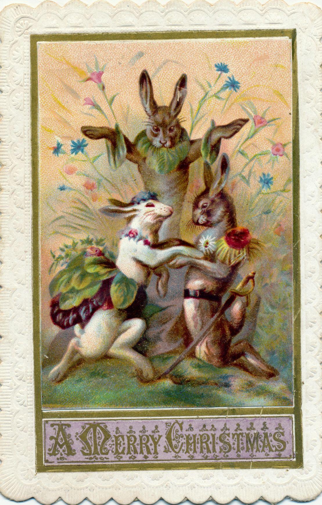 victorian christmas card rabbit wedding  victorian