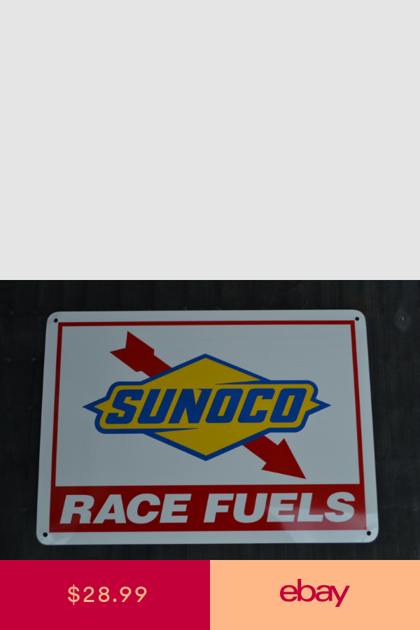 Sunoco Racing Fuel Sign Gas Pump Advertising Mechanic Garage Shop Logo Free Ship Mechanics Garage Shops Oil Company Gas Station