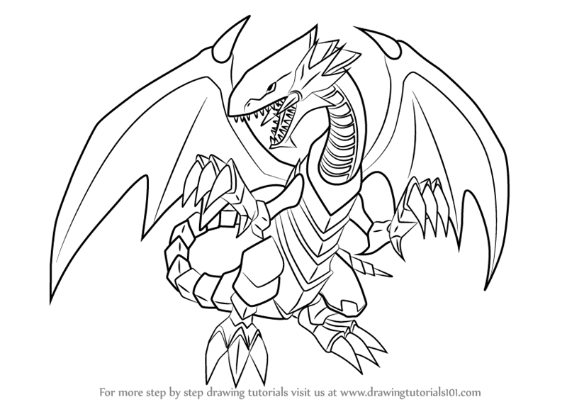 Learn How To Draw Blue Eyes White Dragon From Yu Gi Oh Official Card Game Yu Gi Oh Official Card Game Dragon Coloring Page White Dragon Dragon Tattoo Sketch
