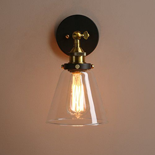 Loft Vintage Flush Mount Wall Sconce Pathson Ceiling Lighting with Clear Glass Shade Antique Industrial Home Wall Light Fixtures