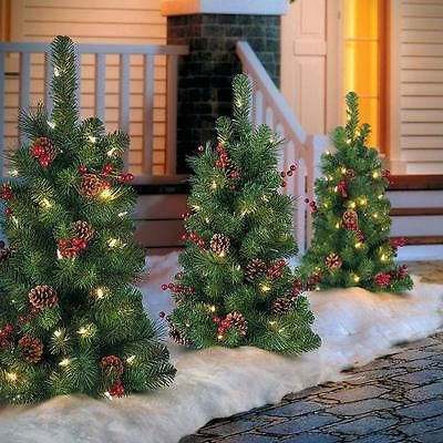 yard d cor 156812 sale set of 2 30 lighted battery operated pathway christmas tree - Battery Operated Christmas Yard Decorations