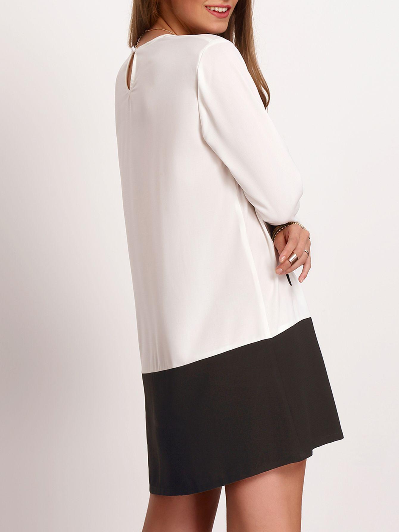 Shop White Black Crew Neck Pockets Color Block Dress online. SheIn offers White Black Crew Neck Pockets Color Block Dress & more to fit your fashionable needs.