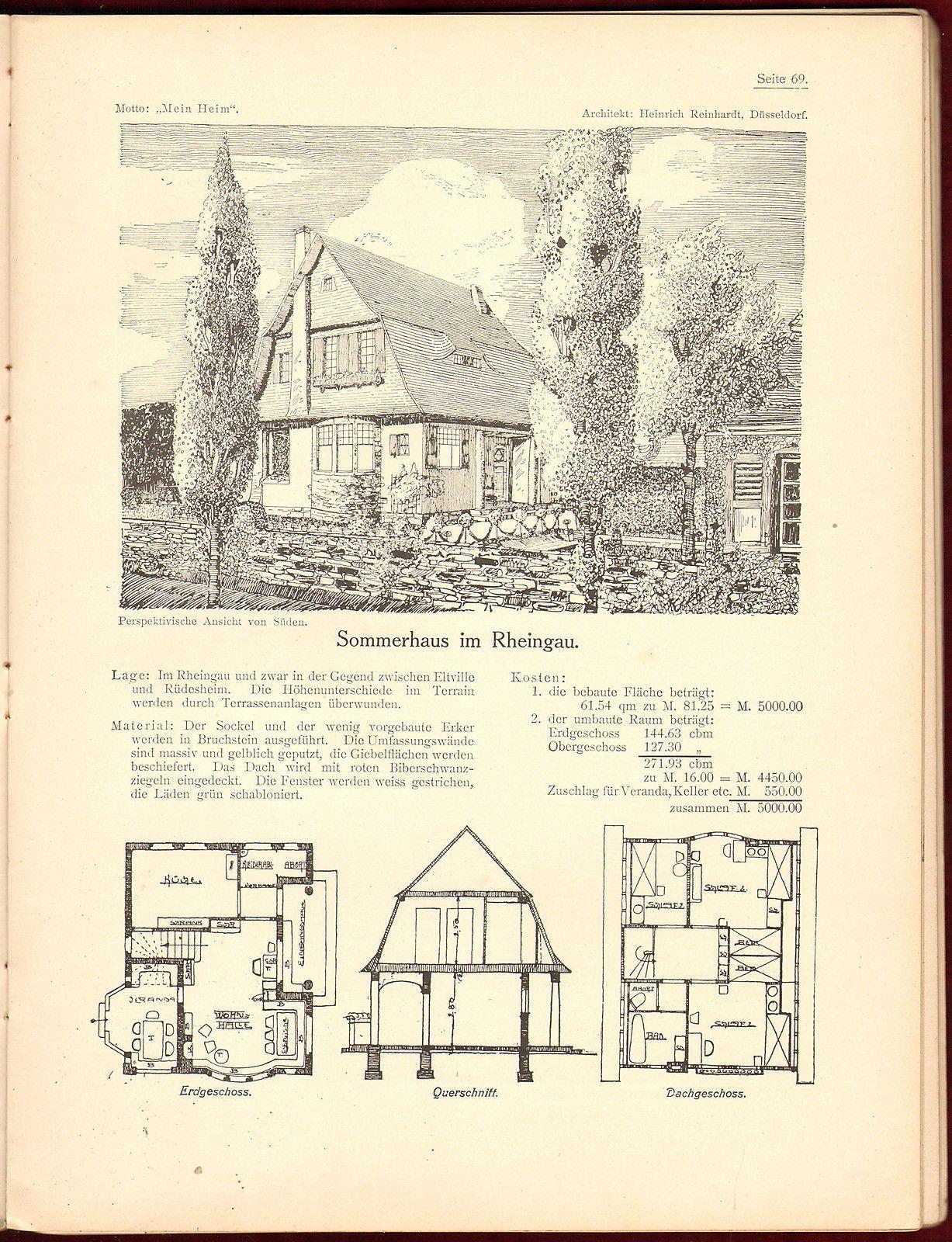 1907 Wettbewerb Woche Germany Architecture Design Vintage House Plan Art Photo Vintage House Plans House Plans Vintage House