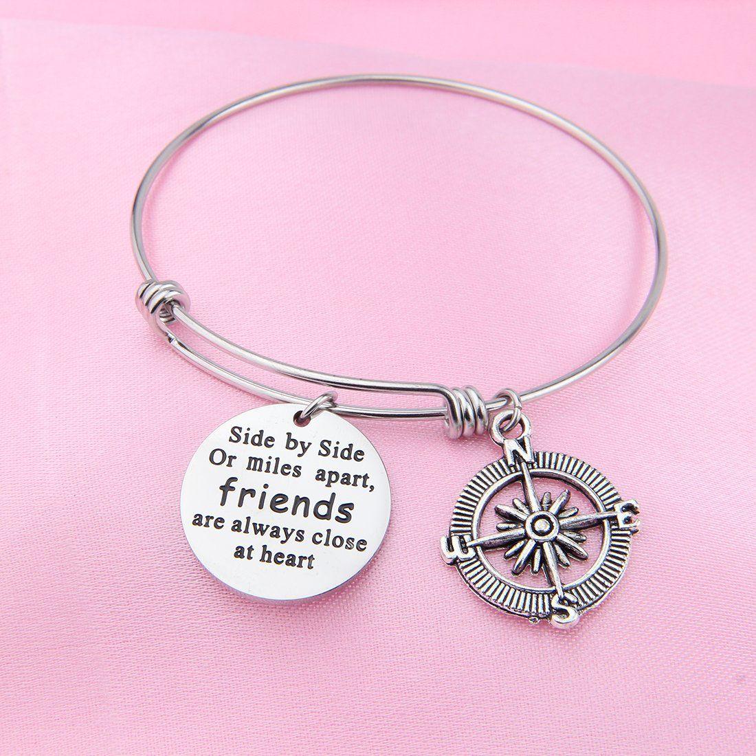 Best friend bracelets side by side or miles apart compass