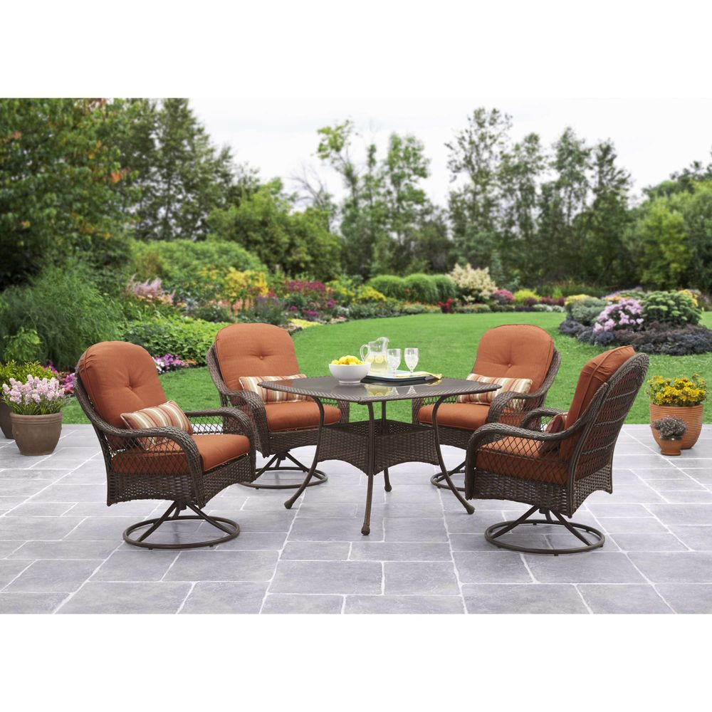 Top Quality Outdoor Dining Set 5 Pieces Padded Brown ...