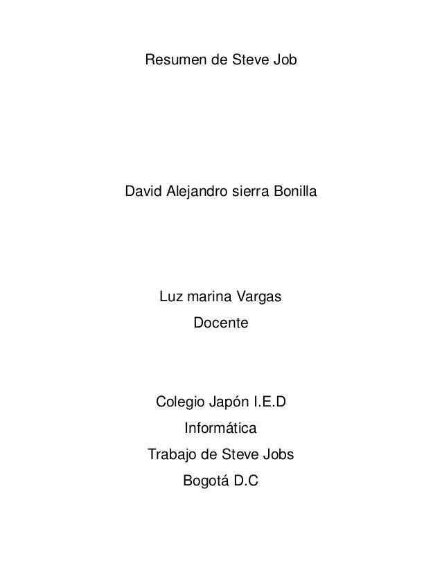 Resumen De Steve Job David Alejandro Sierra Bonilla Luz Marina