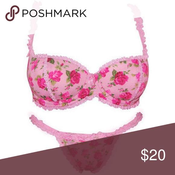 50ab6fae22 Smart   Sexy pink n roses bra panties set 40DD Beautiful new with tags underwear  set Smart   Sexy Intimates   Sleepwear Bras