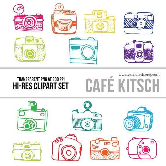 Cameras Clipart Set - Hi Res Printable Vintage Camera Doodle Illustrations for Photographers and Scr
