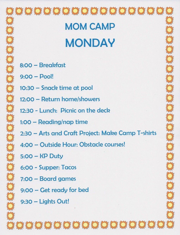 Summer Fun Ideas Mom Camp Schedule For Kids