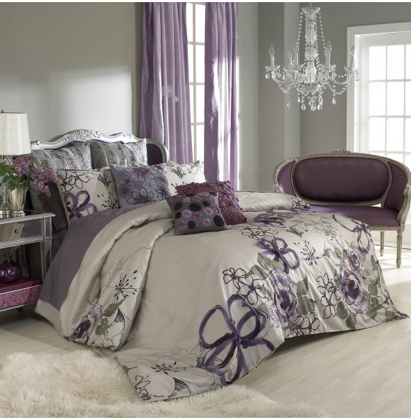 Sage Wall Color Purple Curtains Bedspread Purple Bedrooms Bedroom Colors Bedroom Design