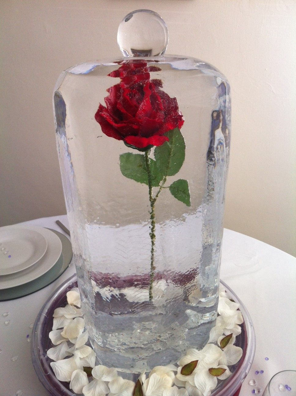 Our beauty and the beast ice table centrepiece