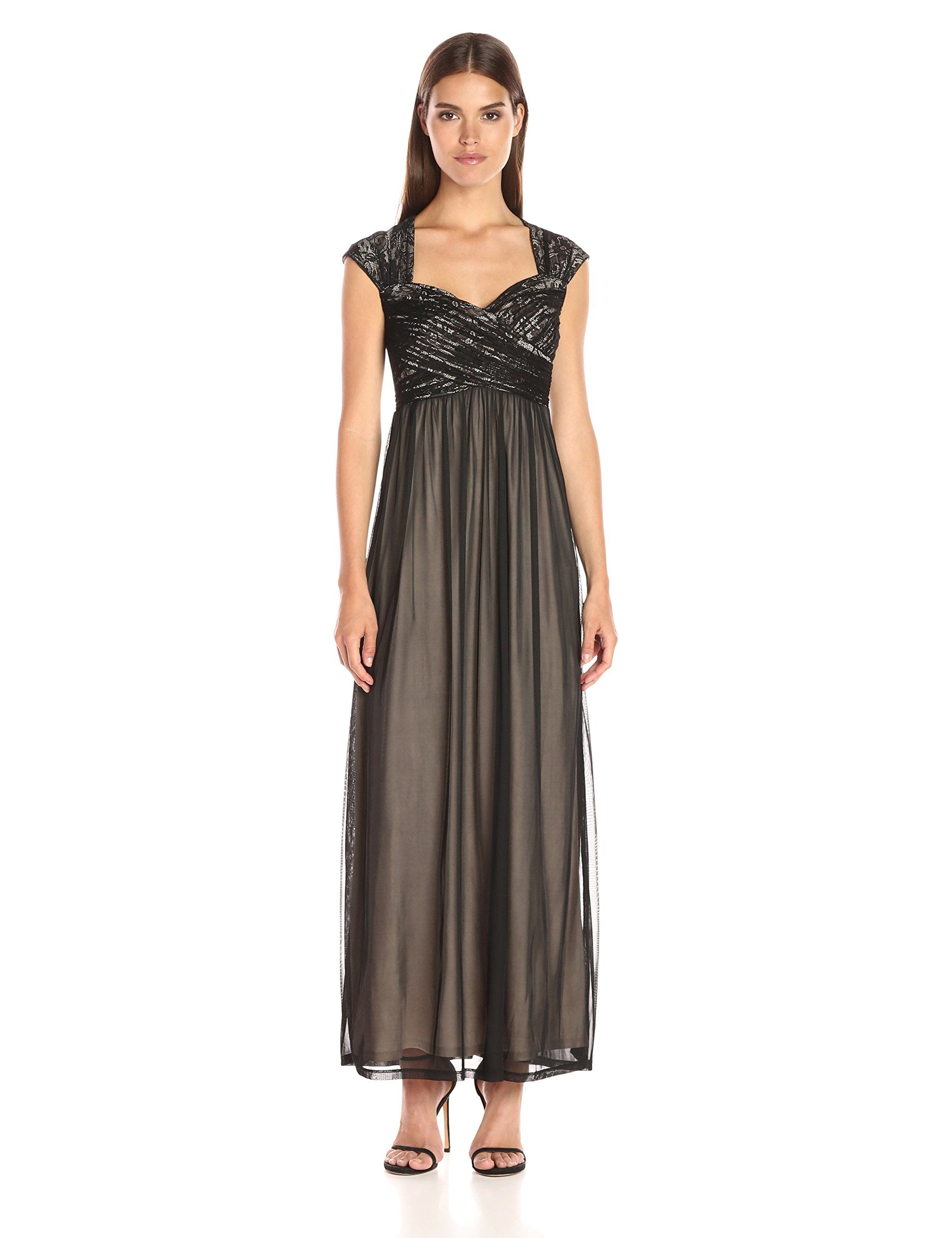 315ea8bb071 Sangria Womens Sweet Heart Neck Lace Bodice Evening Gown Black Putty 12    To view further for this item