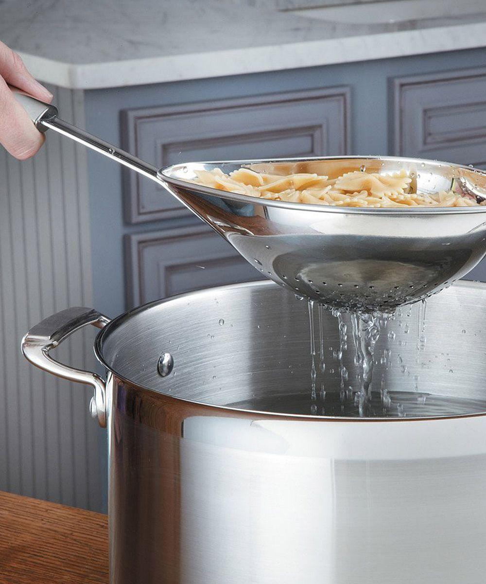 Stainless steel scoop colander with long handle regalos originales cocinas utensilios de - Utensilios de cocina originales ...