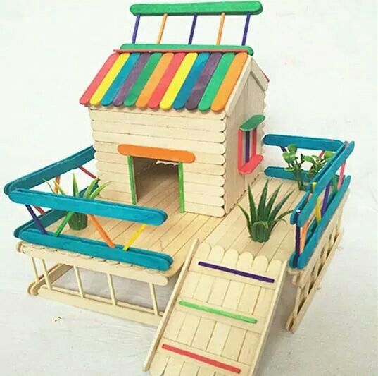 Popsicle Beach House Craft Stick Crafts Popsicle Stick Houses