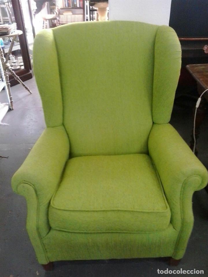 Antiguo sillon orejero tapizado en verde lima vintage - Sillones orejeros pequenos ...
