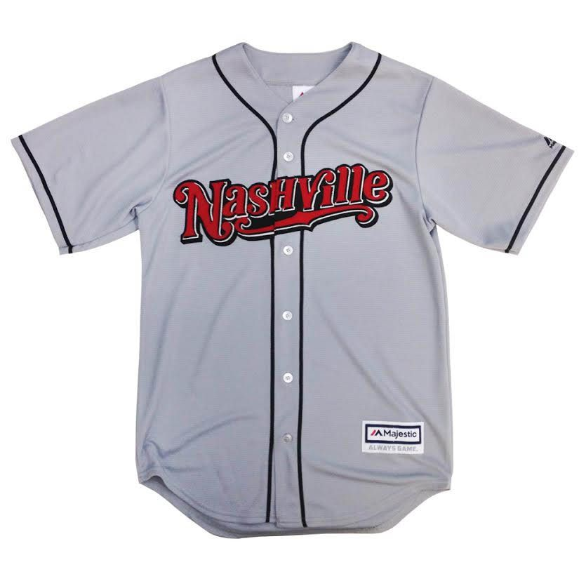 Nashville Sounds Majestic Road Replica Jersey Grey