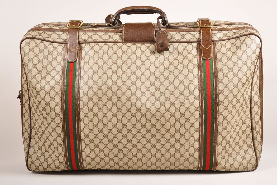 Vintage Gucci Brown Canvas Leather Gg Monogram Soft Sided Travel Luggage Bag Gucci Travel Bag Bags Vintage Gucci