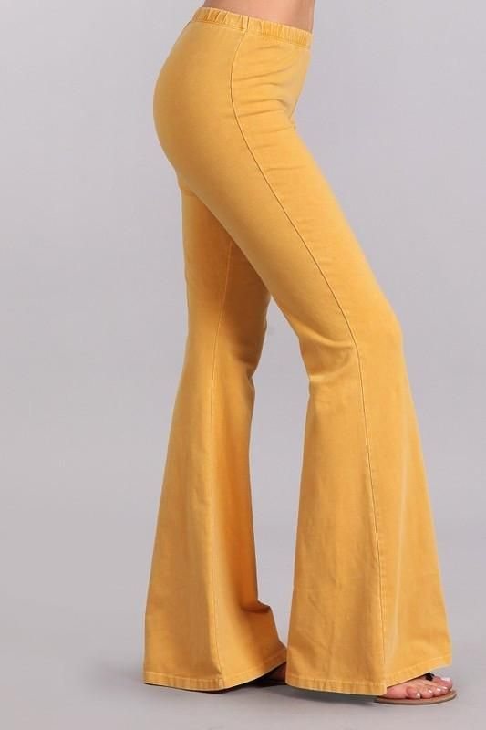 2595d7c73c Mustard Mineral Washed Bell Bottom Pants