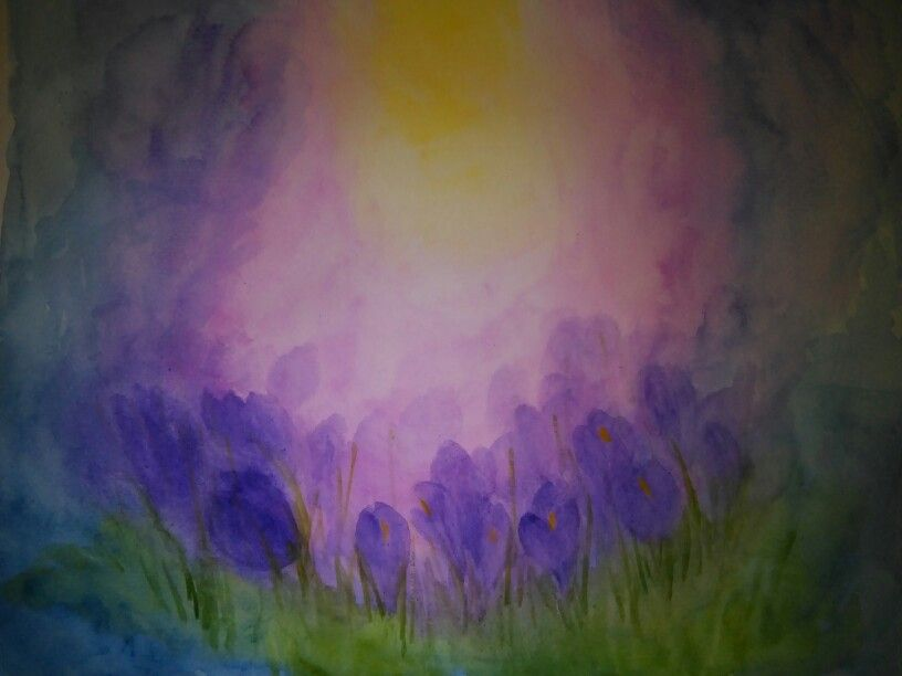 Crocus Watercolour Plant Painting Painting Spring Painting