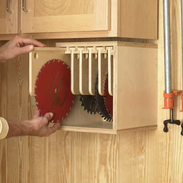 Tablesaw Blade Locker Woodworking Plan From Wood Magazine Woodworking Projects Diy Diy Woodworking Woodworking Storage