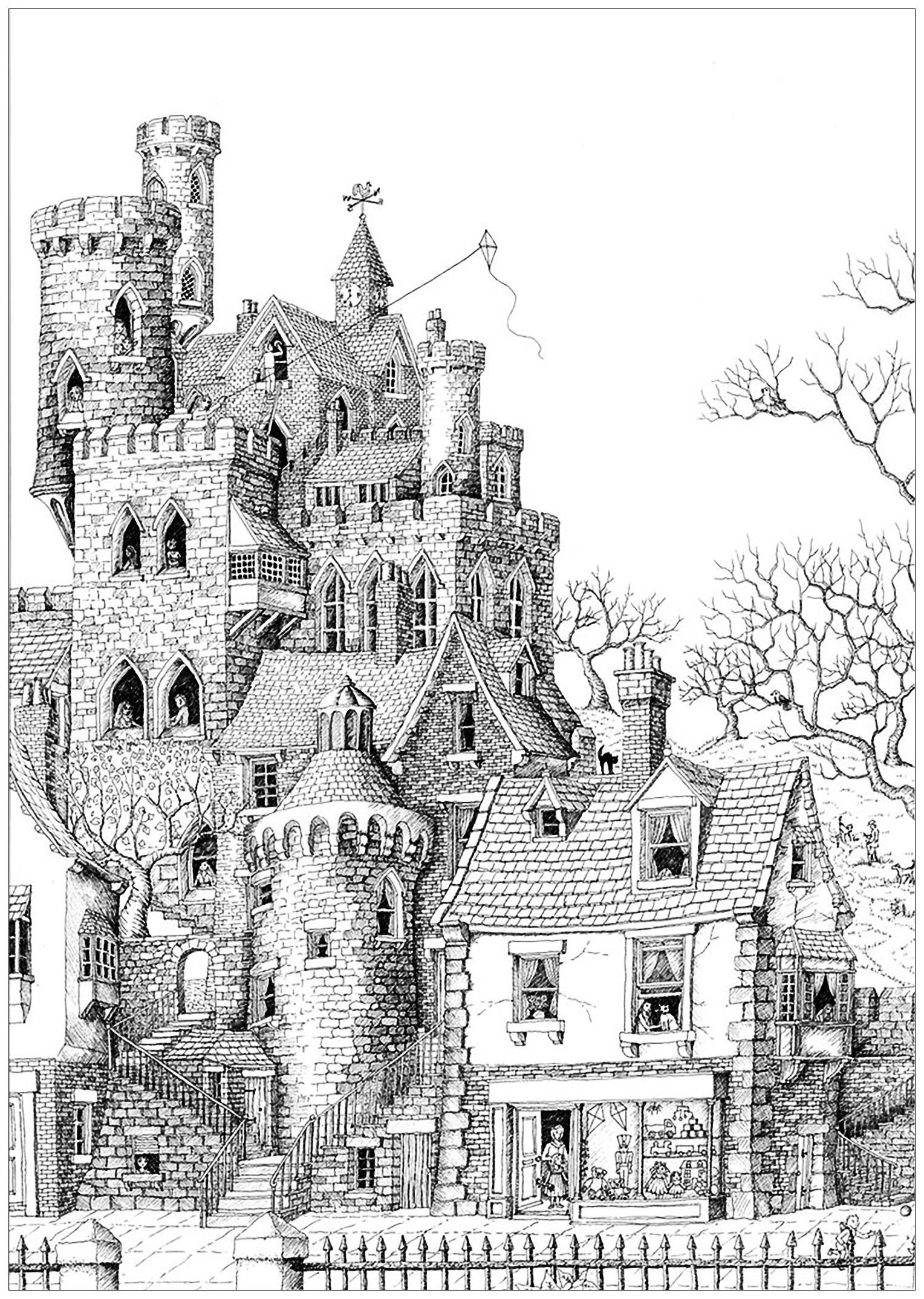 architecture coloring book pages | An impressive castle in a typical village, From the ...