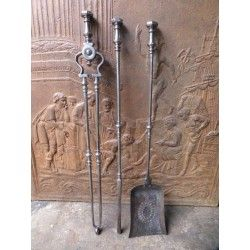 Antique Fireplace Tools Fire Tools Companion Set Polished Steel With Images Fireplace Tools Antique Fireplace Fireplace