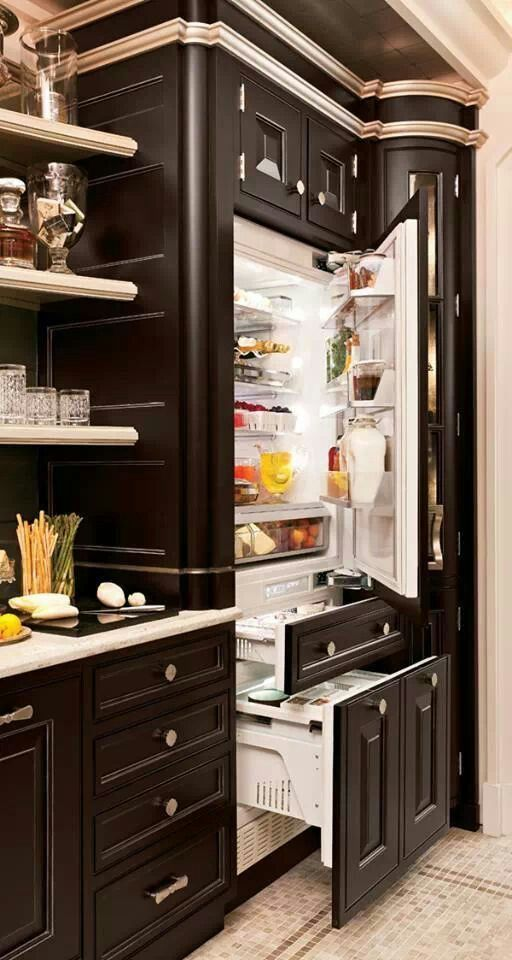 Awesome Fridge In Corner With Floating Shelves Close To