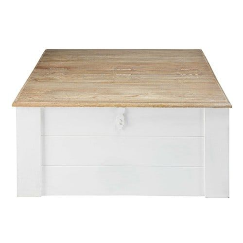 Table Basse Coffre En Manguier Massif Blanc Room Ideas Table