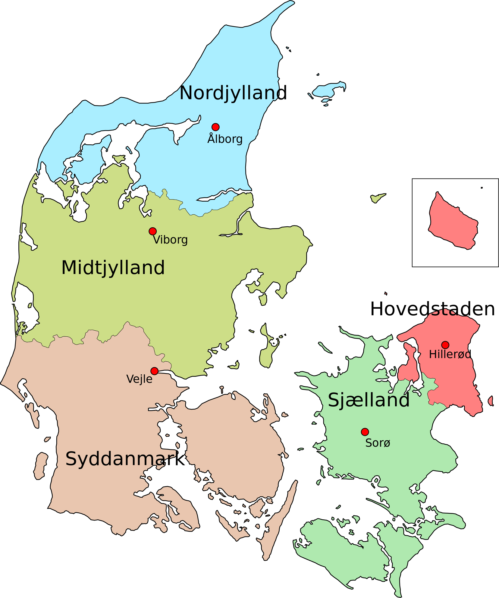 Political map of Danish regions Maps Pinterest