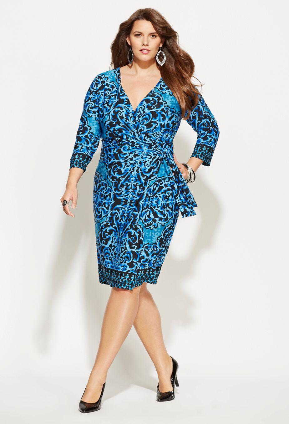 Plus Size Printed Tie Wrap Dress | Plus Size Work Dresses ...
