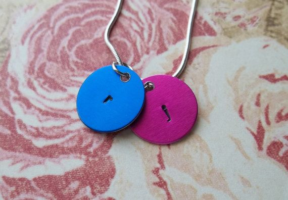 Handstamped Colorful Initial Necklace by SimplySweetHome on Etsy, $12.00