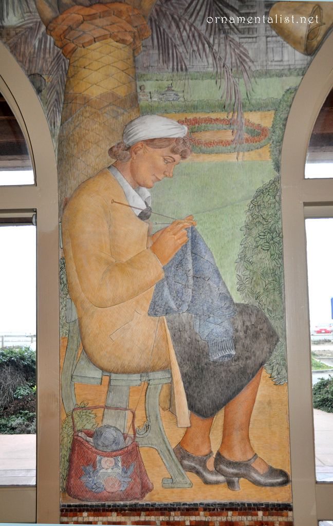 a woman knitting in Union Square WPA fresco murals by Lucien Labaudt.