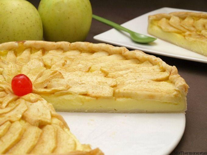 Tarta De Manzana Y Crema Pastelera Recetas Thermomix Misthermorecetas Pastelera Tarta De Manzana Tarta De Manzana Thermomix
