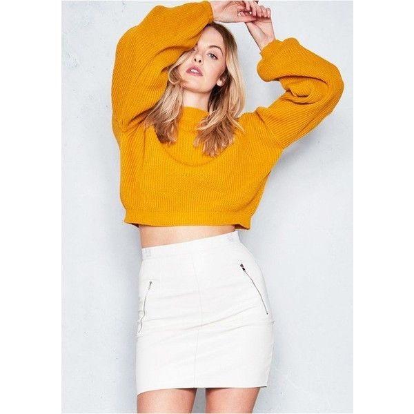 53161968762 Gilly Mustard Knitted Cropped Jumper ($21) ❤ liked on Polyvore featuring  tops, sweaters, mustard yellow top, mustard sweater, mustard crop top, ...