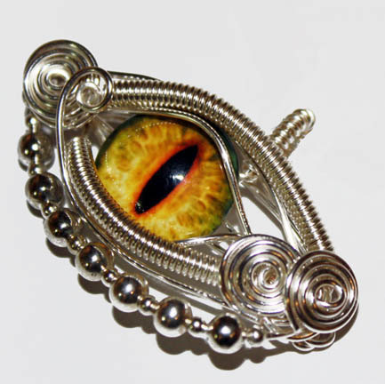 Glass eye wire wrap yellow dragon taxidermy glass eyeball pendant glass eye wire wrap yellow dragon taxidermy glass eyeball pendant with 20 inch sterling silver aloadofball Choice Image