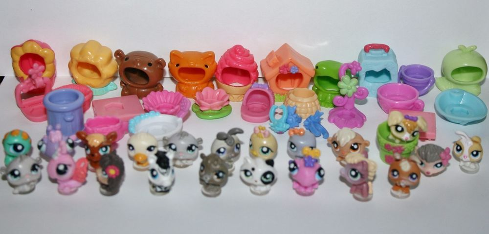 Littlest pet shop 49 pc tiny teensies mixed lot dogs cats for Fish and more pet store