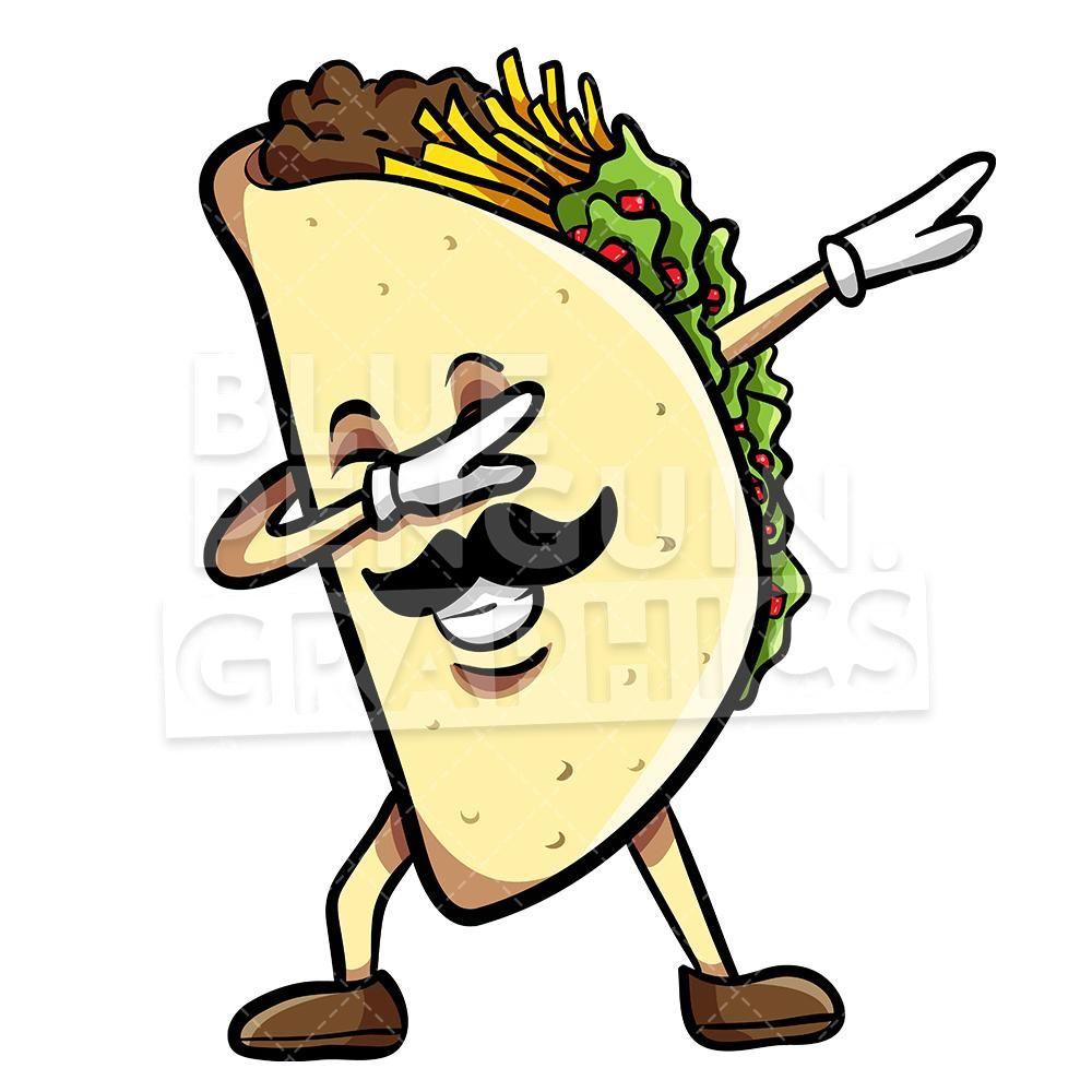 Taco Dabbing With Sombrero Mexican Vector Cartoon Clipart Illustration Cartoon Clip Art Taco Drawing Taco Cartoon