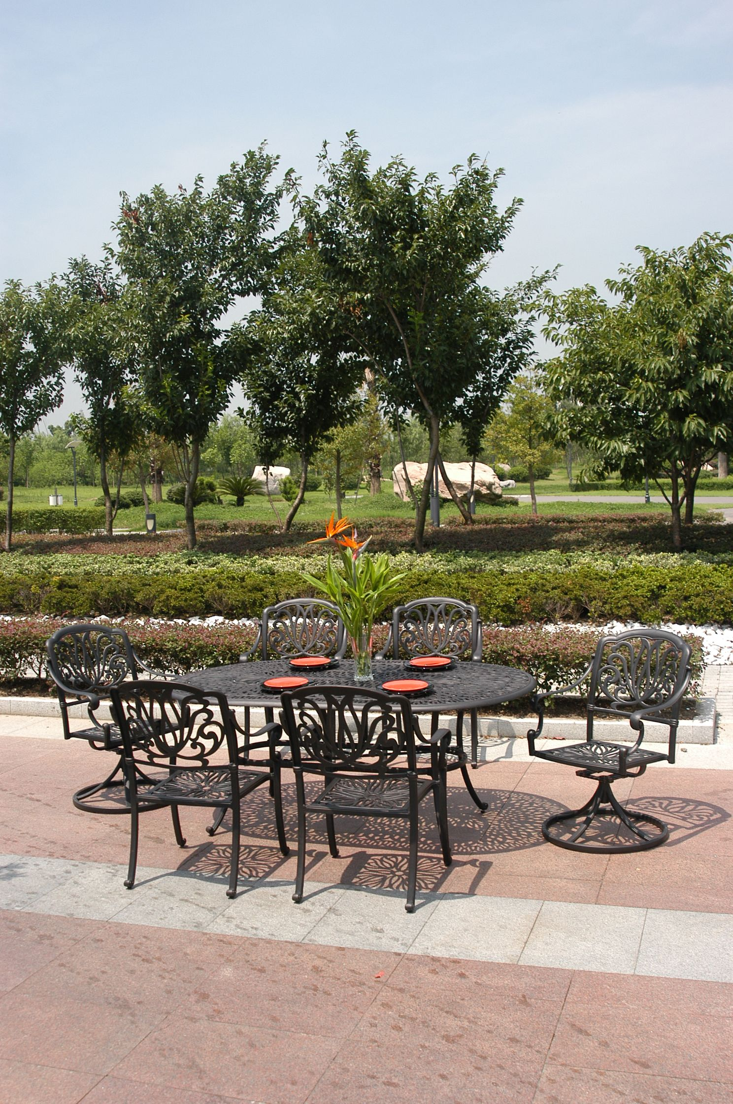table glass furniture elegant of in telescope patio top casual round dining hanamint tuscany
