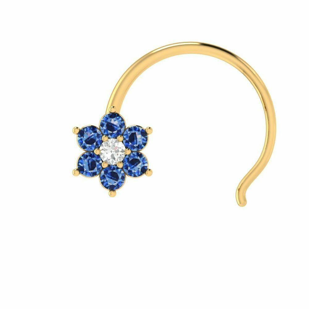 Real Sapphire Diamond Flower 14k Gold Engagement Nose Piercing