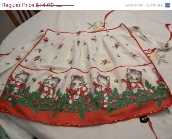 ON SALE Kitty Christmas Apron Vintage 1950s by FabVintageEstates, $12.60