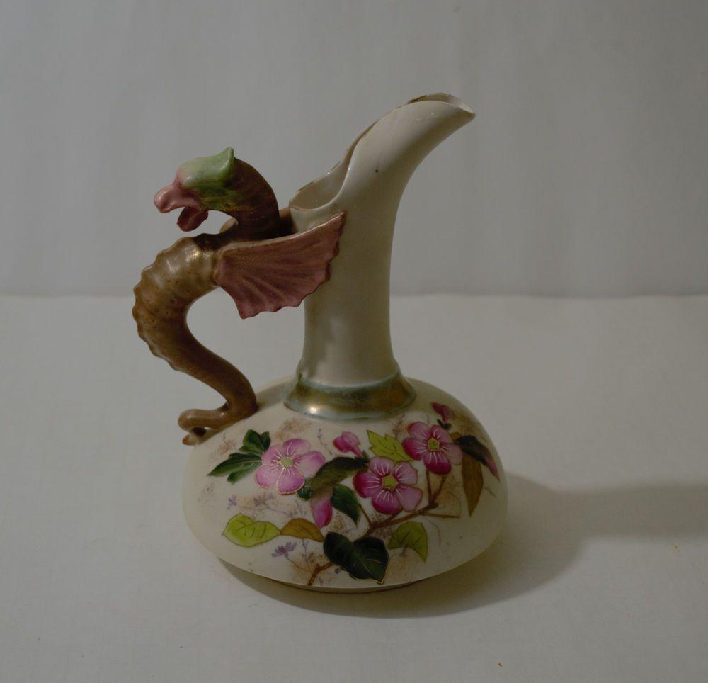 Antique Austria Robert Hanke Porcelain Dragon Handle Pitcher Drachen Ebay Griff