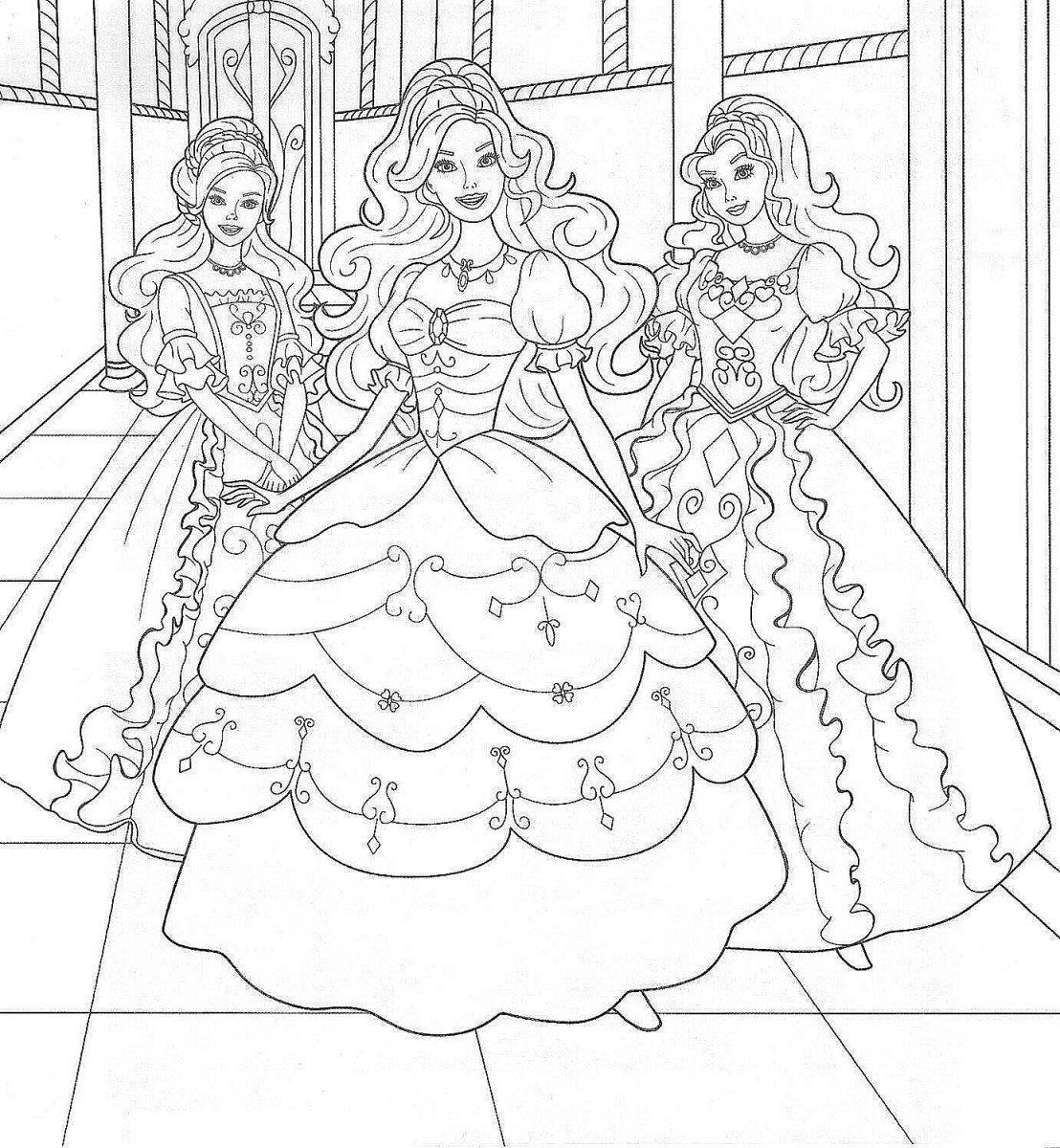 desenhos-para-colorir-da-barbie-princesa-e-suas-amigas