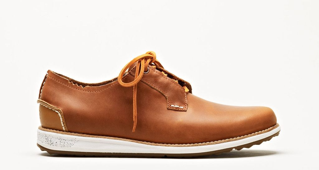 FARRELL W0372 - Tags: brown leather shoe, casual, low, white sole,