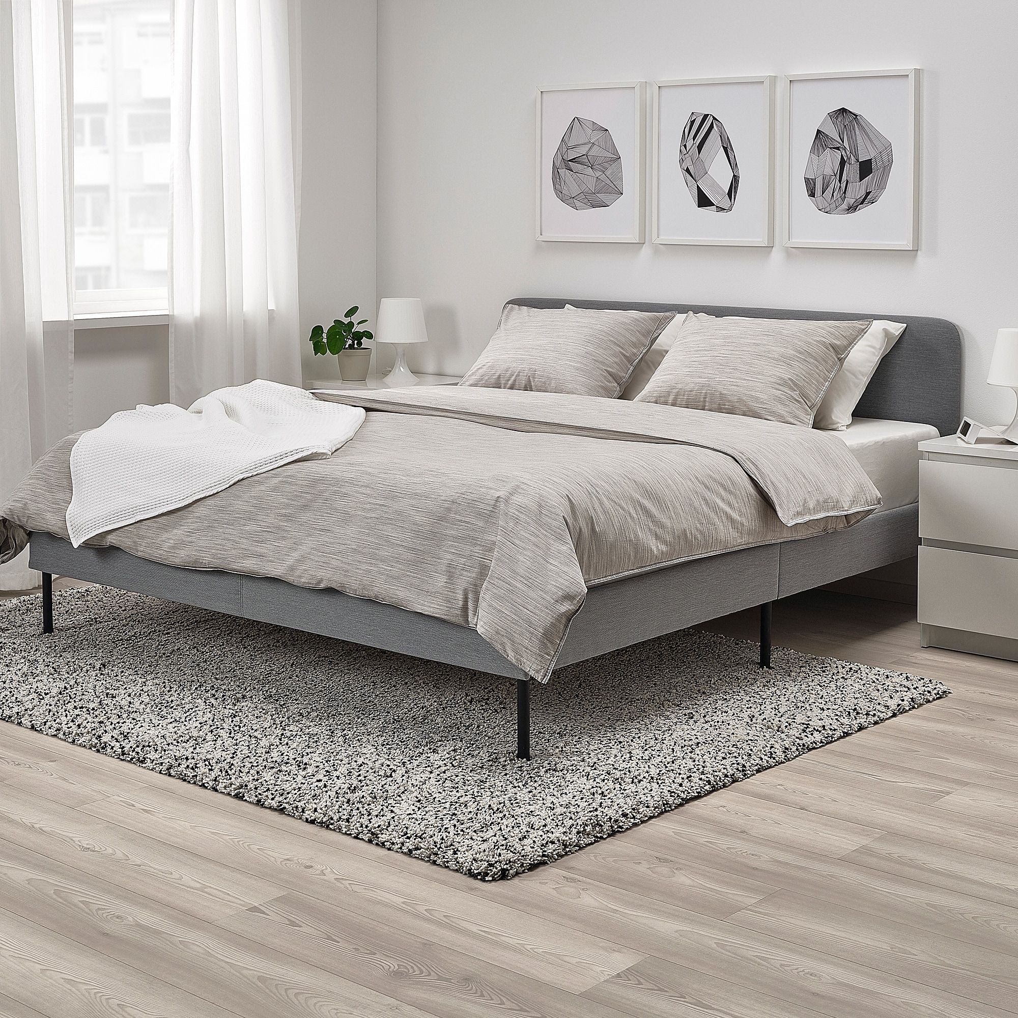 Slattum Upholstered Bed Frame Knisa Light Gray Queen In 2020 Grey Upholstered Bed Upholstered Bed Frame